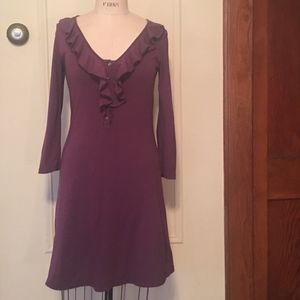 Dark Plum Ruffle Dress from ANTHROPOLOGY - M